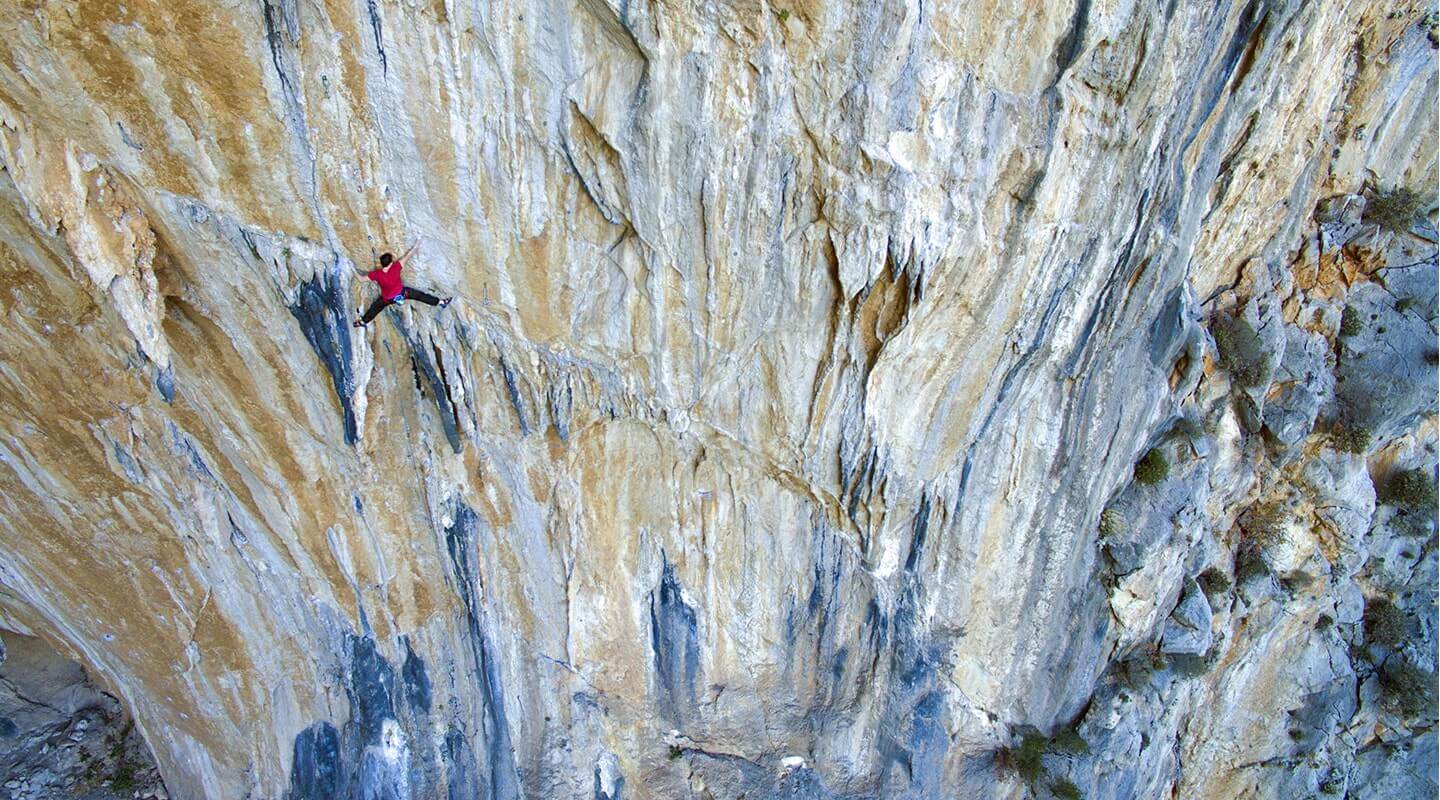 Patrick Gebert climbing in Datca (Turkey).